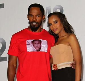 Jamie Foxx and Kerry Washington at the BET Awards 2012 [Image by Von Jackson]